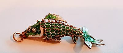 VINTAGE CHINESE STERLING SILVER ENAMEL ARTICULATED FISH PENDANT nice!