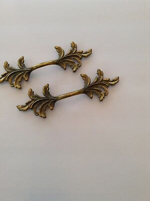 Two French Style Scroll Brass Furniture Handles