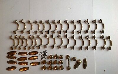 Vintage Lot Of 58 Pieces Cabinet Door Pull, Knobs, Plates KBC Keeler Brass