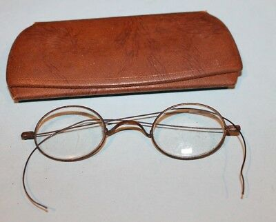 4a58c9f29d Vintage Antique Round Wire Style Frame Gold Toned Eyeglasses Hard Case