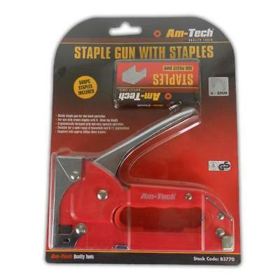Staple Gun & 500 Staples - DIY Upholstery Tacker Stapler Steel Craft Home Work