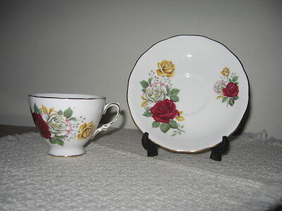 Royal Vale Footed Cup & Saucer Red White Yellow Roses Ridgway Potteries England