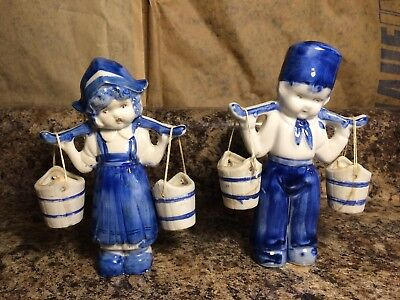 Vintage Dutch Boy & Girl with Yokes and Buckets  Made in Japan