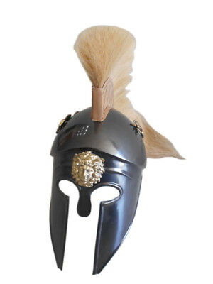 Greek Corinthian Helmet With Black Plume, Armour Sca Medieval Knight Spartan