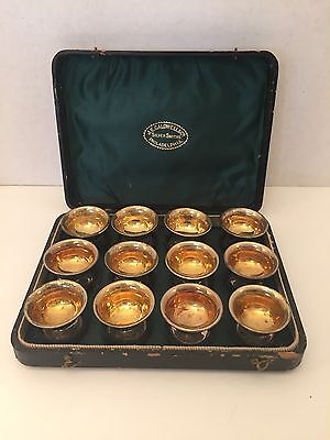 Antique JE Caldwell Co Set of 12 Mini Silver Gold Footed Salt Bowls Cellars Box
