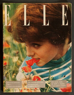 'elle' French Vintage Magazine Holiday Issue Carole Cover 4 August 1958