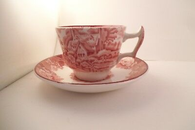Vintage Enoch Woods English Scenery Wood & Sons Cup & Saucer Red