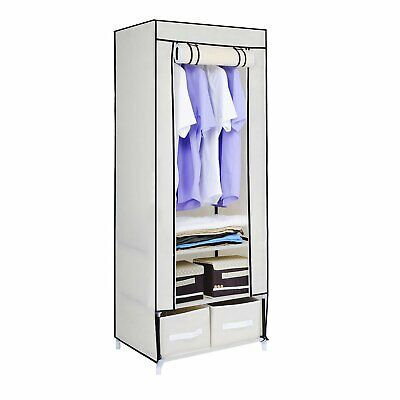 Single Beige Canvas Effect Strong Clothes Rail Shelves Storage Drawer Wardrobe