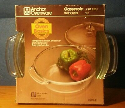 Vintage Anchor Hocking Fire King 449 Ovenware 2-QT Glass Casserole Dish W/ Lid