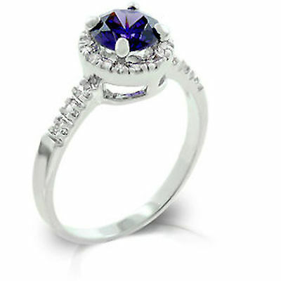 Silver Plated Dainty Halo Ring Simulated Amethyst Cubic Zirconia Size 9 10 USA