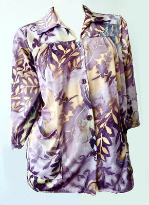 5384b4f6e8 Vintage 70s 80s Vicki Wayne Purple Abstract Slouch Pocket Frock Blouse  Missy M