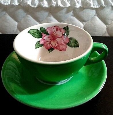 TEA CUP & Saucer  Hand Painted pink flowers   antique HP floral   elegant china