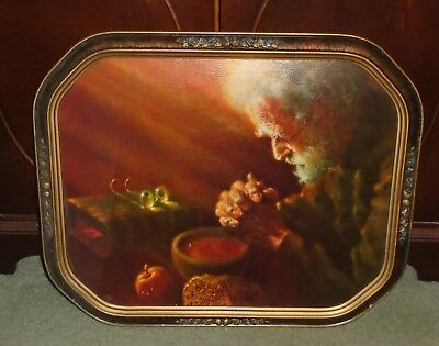 ANTIQUE VINTAGE 1920s WOOD WOODEN PICTURE FRAME FLOWERS TEXTURED CARDBOARD PRINT
