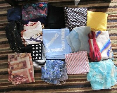 Lot of 15 Ladies Vintage Fashion Scarf Scarves Assorted Medium Square (10N)