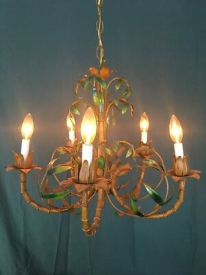 Discounted 30%: Vintage Hollywood Regency Italian Faux Bamboo Tole Chandelier