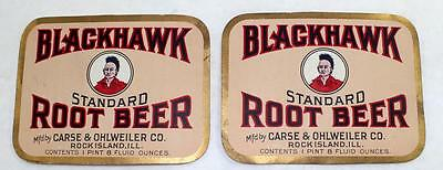 2 - Unused Blackhawk Root Beer Labels Carse & Ohlweiler Co. Rock Island, ILL