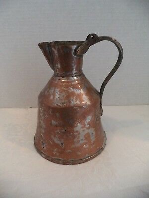 Antique Rustic Copper Handmade Hammered Coffee~Water Jug 19th Century!