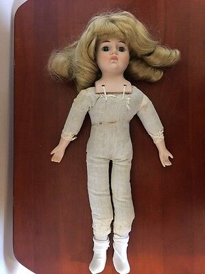 "Porcelain Head Cloth Body Unmarked Doll - 16"" Tall"