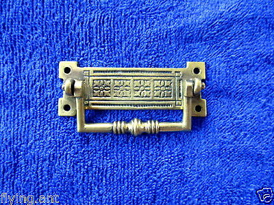 """Antique Victorian 1887 2.8"""" Cast Brass Furniture Handle Rd No16464.Drawer pull"""
