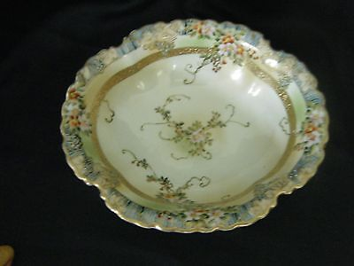 """IMPERIAL NIPPON Oval Bowl 9 1/2"""" (Enamel Grapes and Flowers)"""