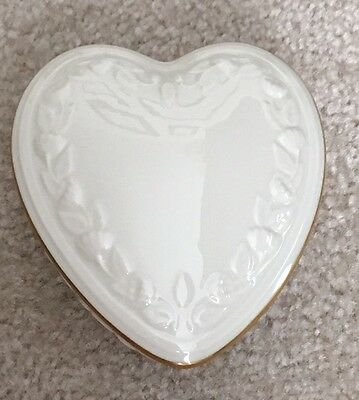 Lenox Heart Box With Lid, Gold Trim & Rose Details