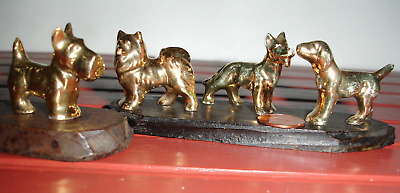 Dog miniatures in gold ceramic German Shepherd Scottie Husky Labrador or Pointer