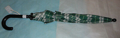 Marshall Field's Co. Embroidered Signature Plaid Green Umbrella