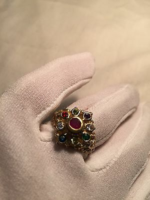 Hand Made Antique Vintage Genuine Color Enhanced Ruby CZ Size 7 Brass Ring
