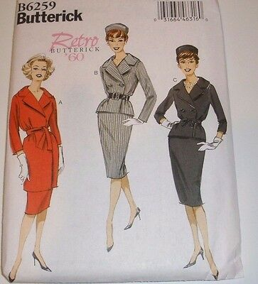 BUTTERICK PATTERN 6259 MISSES RETRO VINTAGE LOOK JACKETS SKIRT BELT 6-14 Uncut