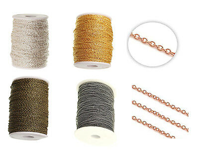 3 X 2 mm Fine Flat Metal Chain Cable Oval Link Jewellery Making Chain Finding