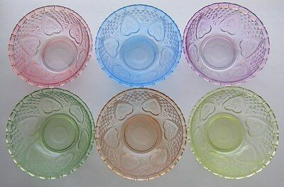 Lot 6 Bowls Satin Glass Multi Color Pastel Diamonds & Hearts Firna Indonesia