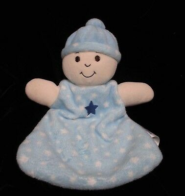 Babies R Us Star Blue Security Blanket Baby Doll Plush Lovey White 12""