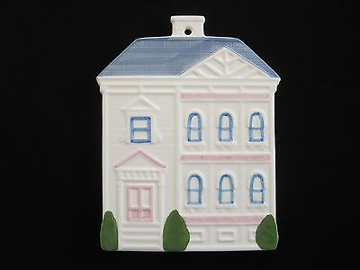 "Vintage 1988 Victorian House Hand Painted CeramicTrivet/ Wall Plaque 9"" High"