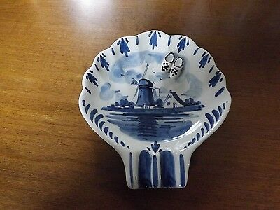 """Delft Blue Dish with Dutch Shoes. Approx. 3"""" Across"""