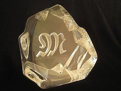 RARE? Mats Jonasson Logo Clear Glass Crystal Paperweight SWEDEN Signed 013 19 Oz