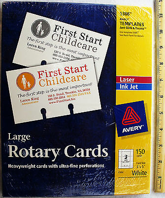 "Avery 5386 Large Rotary Cards (150 Cards) Ink Jet Laser New Sealed 3"" X 5"""