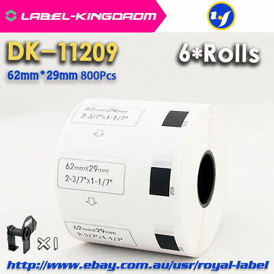 6 Rolls Brother QL-700 Compatible DK-11209 Label 62*29mm Adhesive Label Sticker