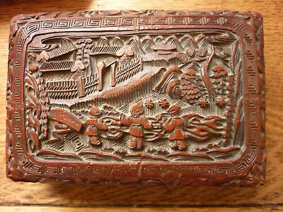 Antique Chinese Carved Cinnabar Box Gold Reign Mark