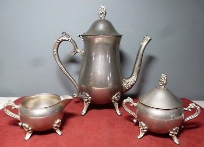 Vintage SILVERPLATED TEAPOT with CREAMER and SUGAR BOWL w. LID