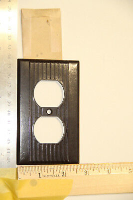 vintage outlet plate bakelite Brown large ribs full length UL made in usa