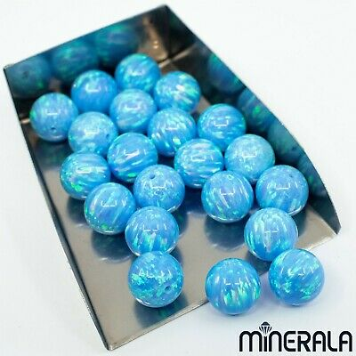 [Wholesale] Sky Blue Synthetic Opal Round Loose Beads Full Drilled Various Sizes
