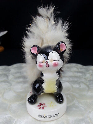 Vintage Skunk Figurine Heavenly! Ucagco Ceramics Japan Fur Trim kitsch figure