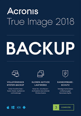 Acronis True Image 2018 3-PC / 2019* Dauerlizenz / Datensicherung/HDD-Copy / KEY