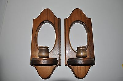 Pair of VINTAGE Wooden Sconce Handmade in USA Lighting Candle Wall Hanging 11""