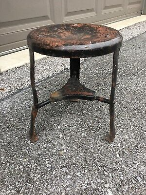 Antique Vtg Milking Stool, Three Legged, Black Metal, NICE