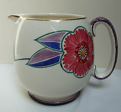 "A E GRAY & CO GRAY'S HAND PAINTED FLORAL JUG 5"" 1930's DECO"