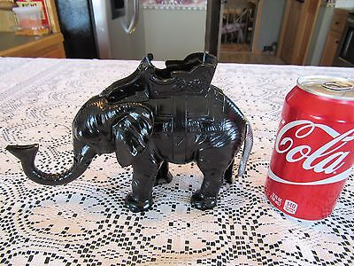 Vintage Cast Iron Mechanical Elephant Bank  In As Found Repainted Condition