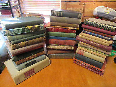 Lot of 39 ANTIQUE Old Vintage Books Collection Set UNSORTED MIXED all hardcover