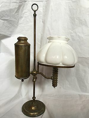 Antique Manhattan Brass Co NY Oil Kerosene Safety Student Lamp Light 1800's 22""