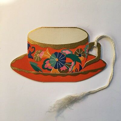 Vintage Art Deco Bridge Tally 1920s Floral Tea Cup, Unused, Gibson, Gold Accents